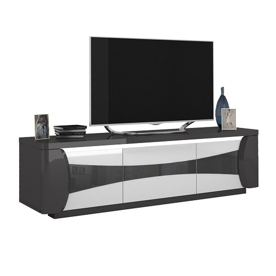 Zaire Wooden TV Stand In White And Anthracite Gloss With LED