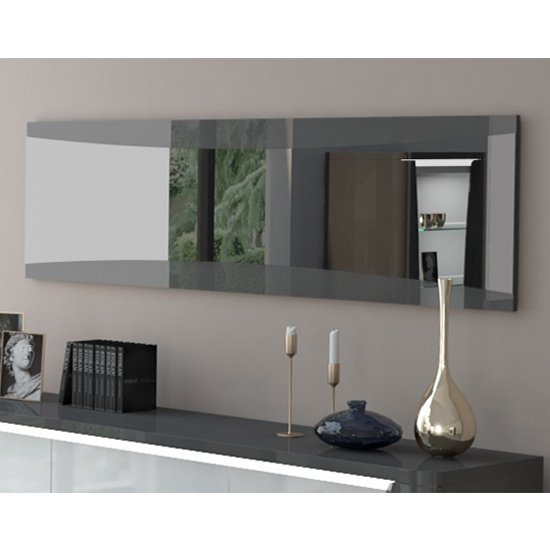 View Zaire wall mirror with grey and anthracite high gloss frame