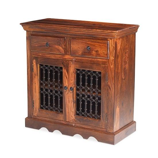 Zander Wooden Compact Sideboard In Sheesham Hardwood
