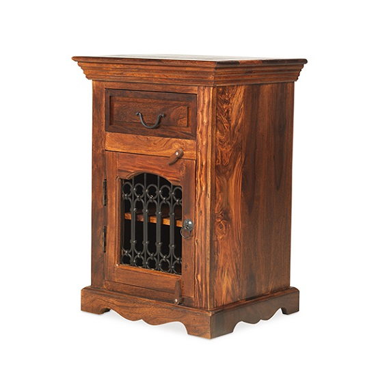 Zander Wooden Left Bedside Cabinet In Sheesham Hardwood