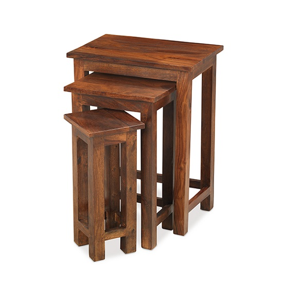 Zander Wooden Nest Of Tables Tall In Sheesham Hardwood