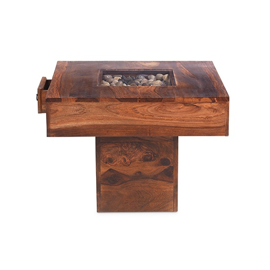 Zander Pebble Coffee Table Square In Sheesham Hardwood
