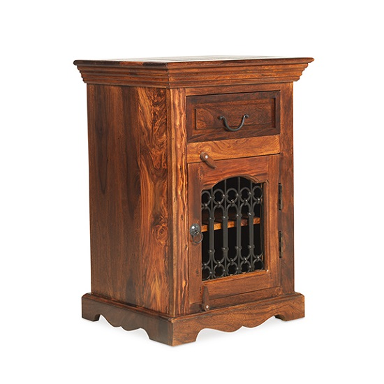 Zander Wooden Right Bedside Cabinet In Sheesham Hardwood_1