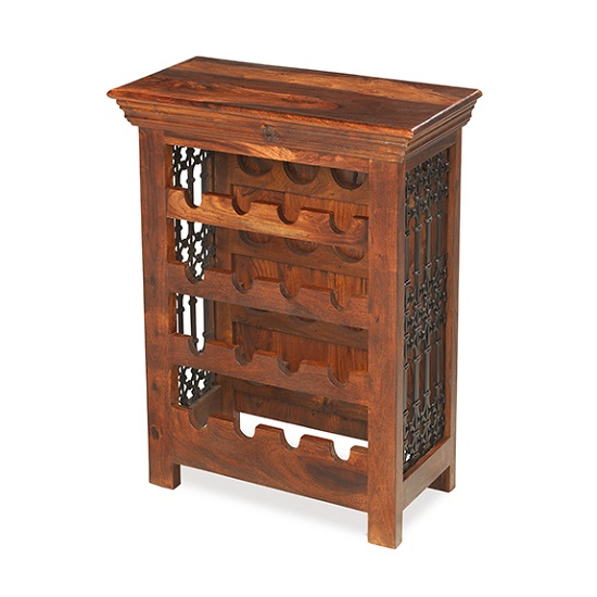 Zander Wooden Bottle Wine Rack In Sheesham Hardwood