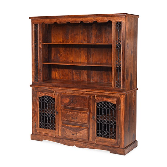 Zander Wooden Display Cabinet In Sheesham Hardwood With 2 Doors