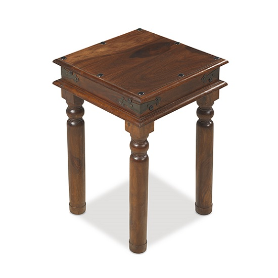 Zander Wooden Lamp Table Square In Sheesham Hardwood