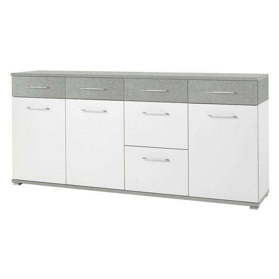 Zanotti Large Sideboard In Concrete And White
