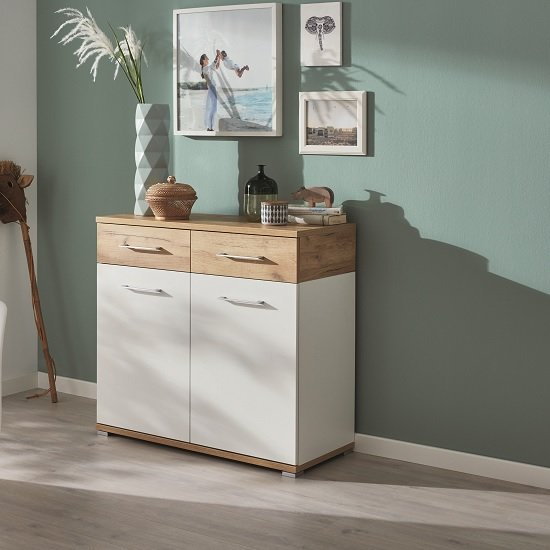 Zanotti Wooden Compact Sideboard In White And Navarra Oak