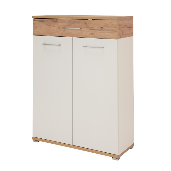 Zanotti Wooden Shoe Cabinet In White And Oak With 2 Doors_3
