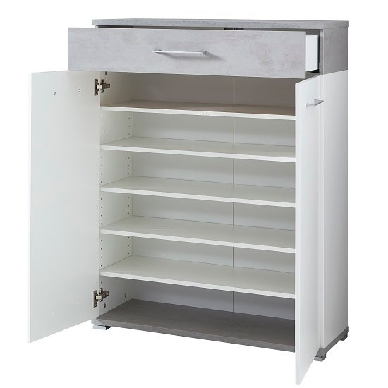 Zanotti Modern Shoe Storage Cabinet In White And Concrete