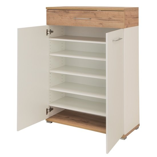 Zanotti Wooden Shoe Cabinet In White And Oak With 2 Doors