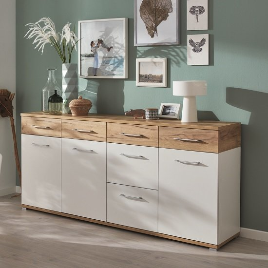 Zanotti Wooden Sideboard Large In White And Navarra Oak