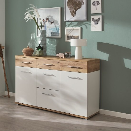 Zanotti Wooden Sideboard In White And Navarra Oak