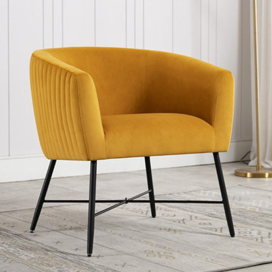 Zarop Velvet Upholstered Lounge Chair In Apricot