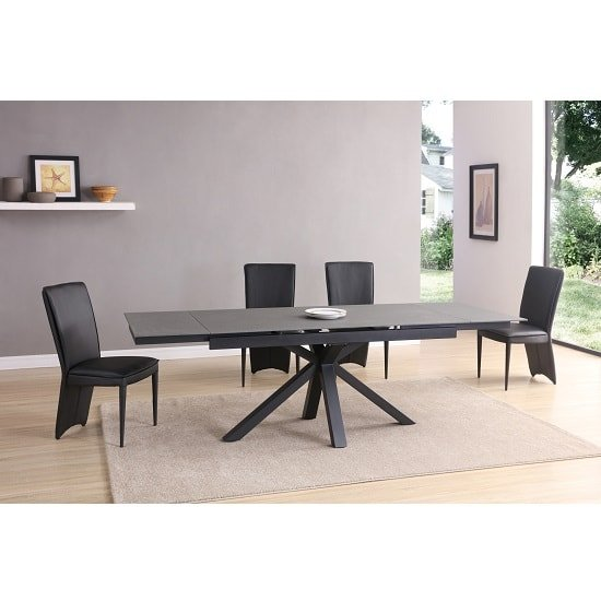 Zara Extendable Dining Set Black Grey Stone Glass 6 Ergo Chairs