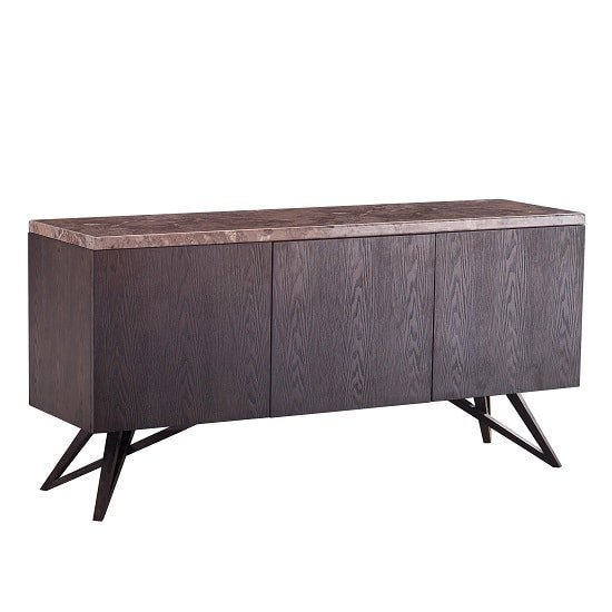 Zara Wooden Sideboard In Imperial Gold Marble Top