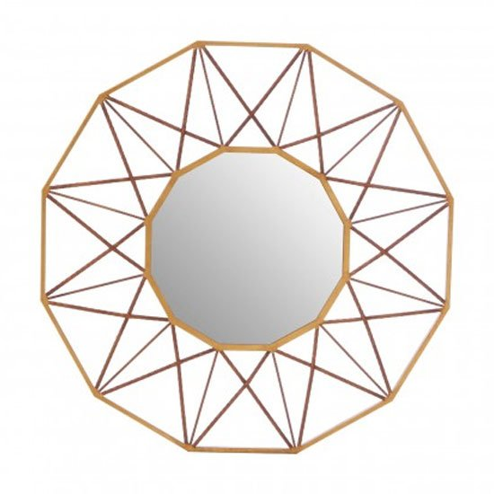 Zaria Geo Wall Bedroom Mirror In Antique Gold Frame