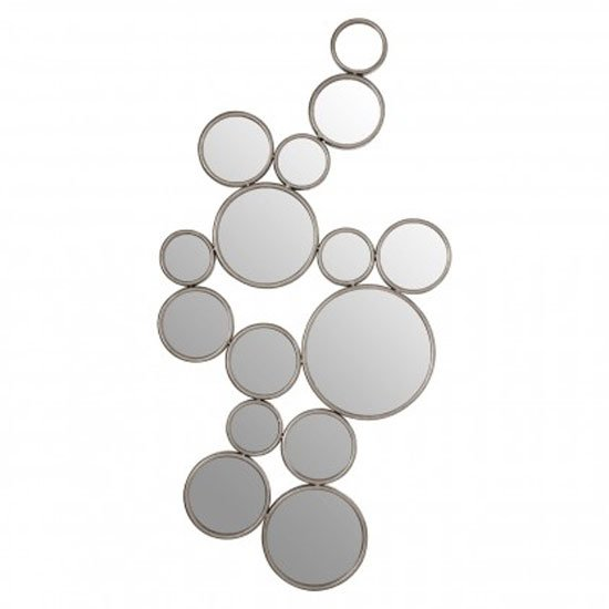 Zaria Large Multi Circle Wall Bedroom Mirror In Silver Frame