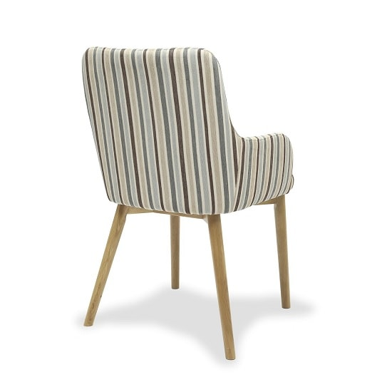 Zayno Fabric Dining Chair In Duck Egg Blue Stripe In A Pair_4