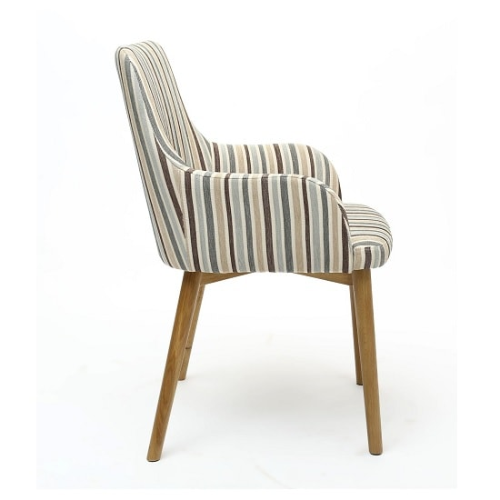 Zayno Fabric Dining Chair In Duck Egg Blue Stripe In A Pair_2