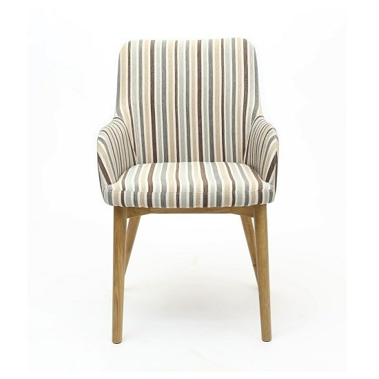 Zayno Fabric Dining Chair In Duck Egg Blue Stripe In A Pair_3