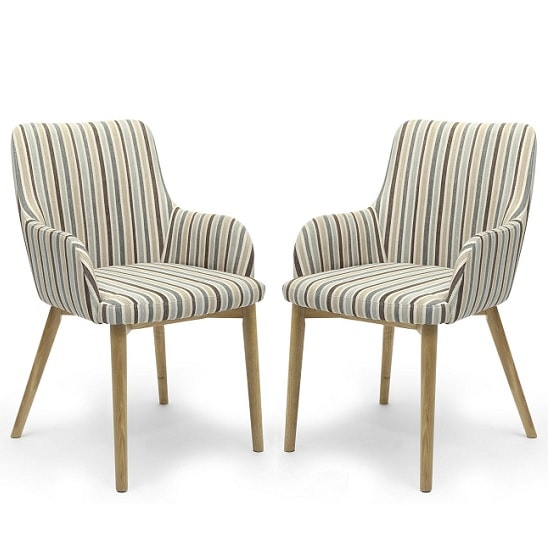 Zayno Fabric Dining Chair In Duck Egg Blue Stripe In A Pair_1