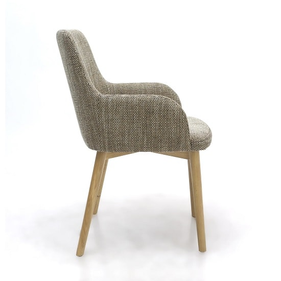 Zayno Fabric Dining Chair In Natural Tweed In A Pair_2