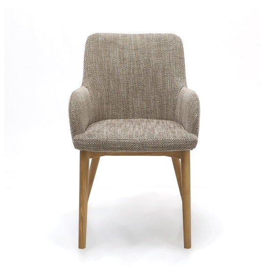 Zayno Fabric Dining Chair In Natural Tweed In A Pair_3
