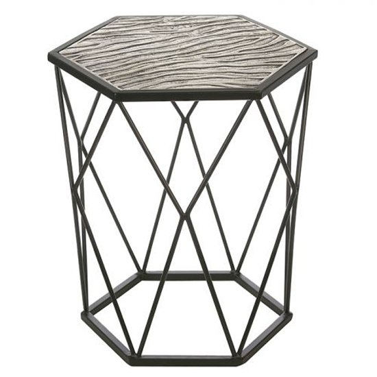 Zebra Aluminium Side Table In Antique Black And Silver