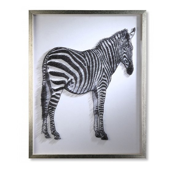 Product photograph showing Zebra Picture Glass Wall Art In Silver Wooden Frame