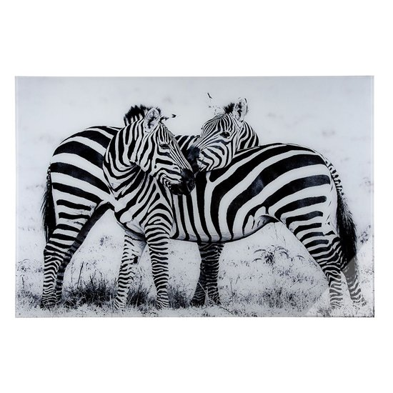 Zebras Picture Acrylic Wall Art In Black And White