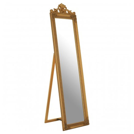 Zelman Floor Standing Cheval Mirror In Antique Gold Frame