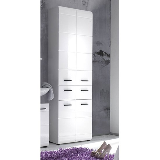 Zenith Floor Storage Cabinet In White With Gloss Fronts