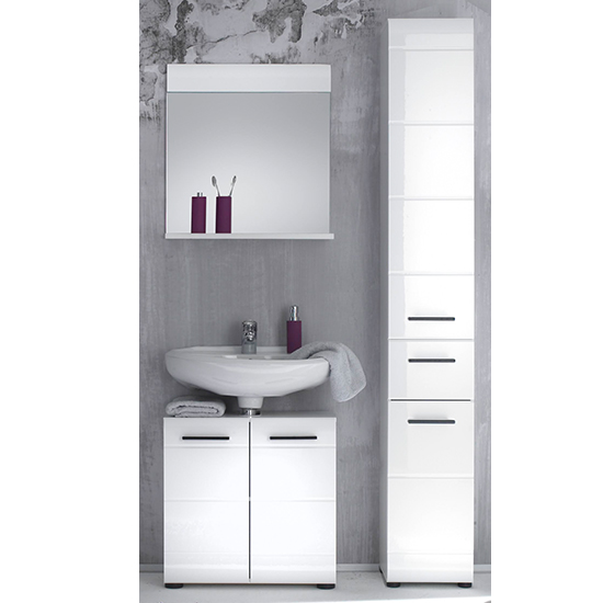 Zenith Bathroom Furniture Set 5 In White With High Gloss Fronts