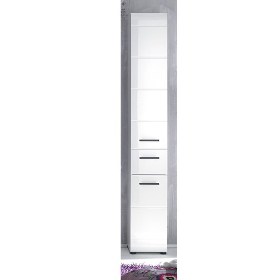 Zenith Bathroom Storage Cabinet In White With High Gloss Fronts