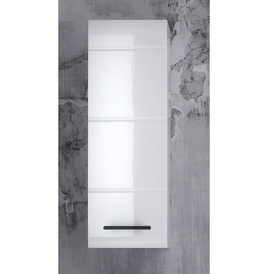 Zenith Bathroom Wall Storage Cabinet In White With Gloss Fronts