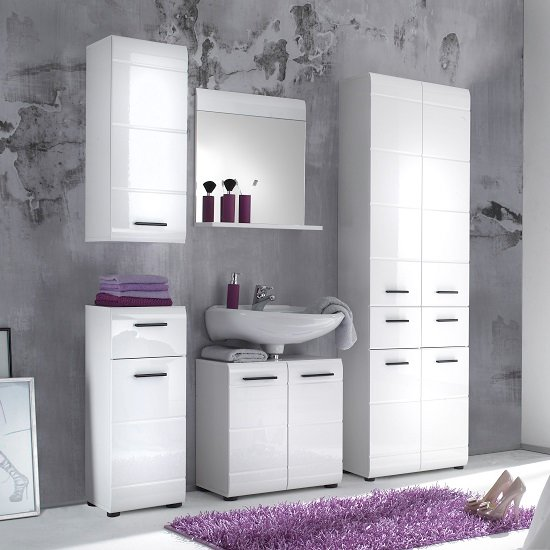 Zenith Bathroom Furniture Set 2 In White With High Gloss Fronts