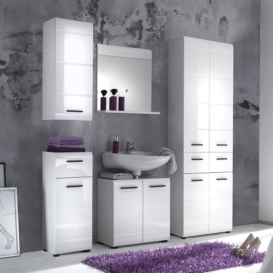 Zenith Bathroom Cabinets: Zenith Bathroom Furniture Set 2 In White With High Gloss