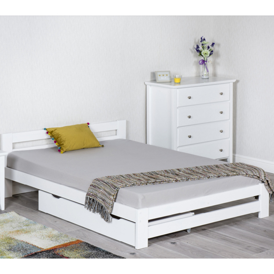 Zenota Wooden Double Bed In White