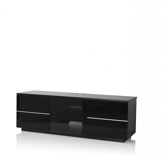 Zephyr TV Stand In Black With Glass And Gloss Doors