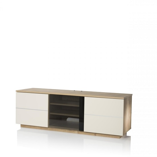 Zephyr TV Stand In Oak With Glass And Matt Cream Doors