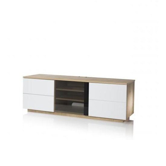 Zephyr TV Stand In Oak With Glass And White Gloss Doors