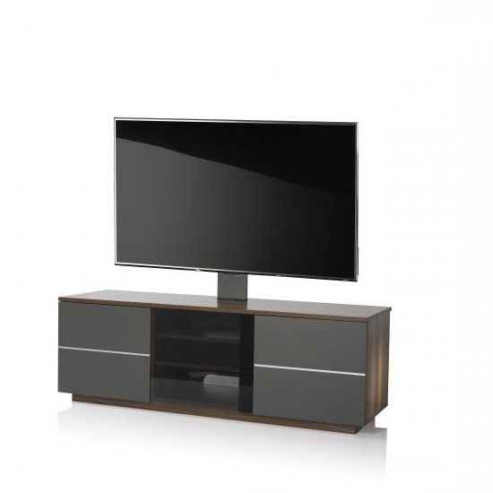 Image of Zephyr TV Stand In Walnut With Glass And Matt Grey Doors