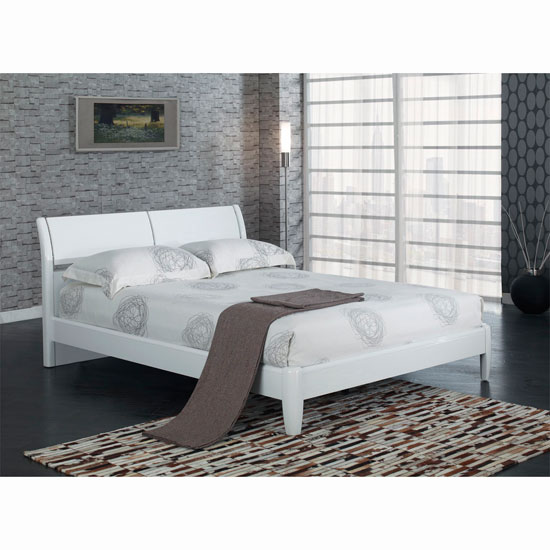 Zeta Modern King Size Bed In White High Gloss