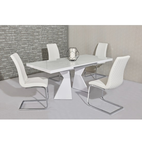 Zeta Extendable Glass Dining Set In White Gloss 6 Orly Chairs