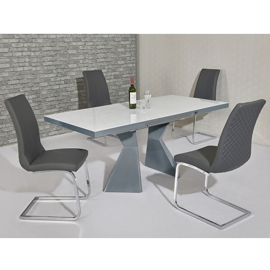 Zeta Extendable Glass Dining Set White Grey Gloss 6 Orly Chairs