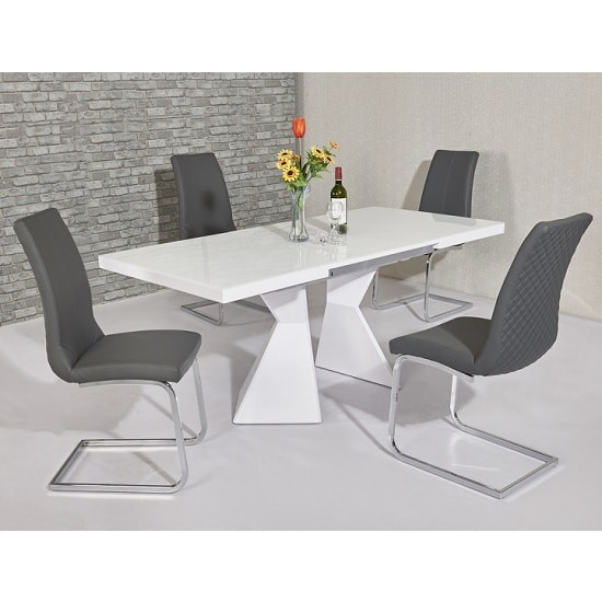 Zeta Extendable Glass Dining Set White Gloss 6 Orly Grey Chairs