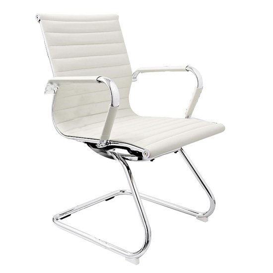 Zexa Faux Leather Dining Chair In White With Chrome Metal Legs