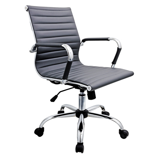 Zexa Faux Leather Office Chair In Black With Chrome Metal Frame