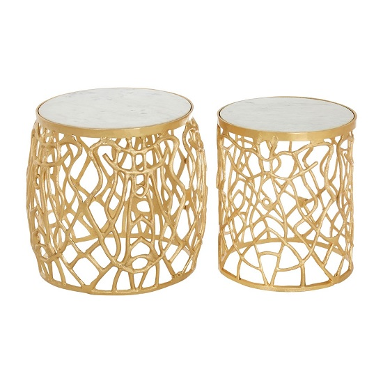 Ziggy Set Of 2 Marble Side Tables In Gold Finish Frame